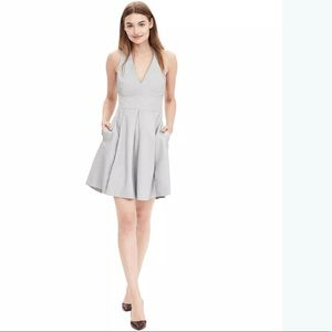 Banana Republic Grey Leather Fit & Flare Dress 0